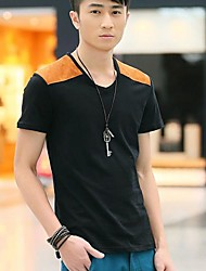 Men's V Neck Contrast Color Short Sleeve T-Shirt