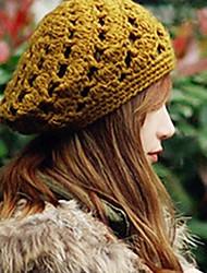 a céu aberto crochet gorro de lã de malha das mulheres
