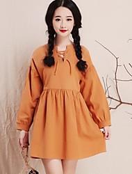 Women's Loose  Fresh Cotton Elastic Rope Pure Color Long Sleeve Dress