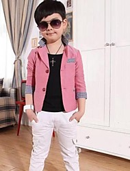 Boy's Fashion Leisure Joker Lattice Sleeve Opening Suit