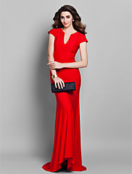 Formal Evening Dress - Elegant Trumpet / Mermaid V-neck Sweep / Brush Train Jersey with