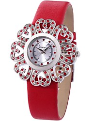 Time100 Romantic Women Sun Flower Pattern Rhinestone Genuine Leather Strap Quartz Watch