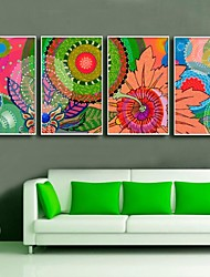 Beautiful Flowers Colors Abstract Art Framed Canvas Print Set of  4