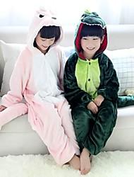 Kigurumi Pijamas Dinossauro Malha Collant/Pijama Macacão Festival/Celebração Pijamas Animal Rosa / Verde Miscelânea Flanela Kigurumi Para