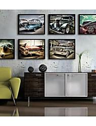 coche pintura decorativa enmarcado lienzo conjunto cosecha de impresión de 6