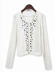 YiLuo Fashion OL Long Sleeve Coat With Rivet (White)