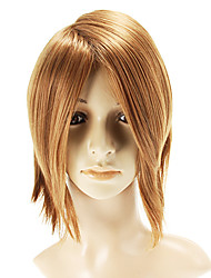 Capless Medium Straight Golden Wigs Side Bang