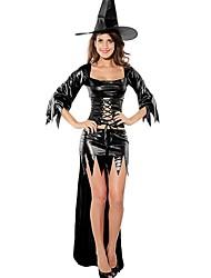 elonbo® sexy girl sete minutos de traje da bruxa das mulheres de couro preto de manga