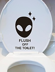 Cartoon Alien Toilet Posted Toilet Sticker
