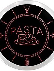 pâtes restaurant en plein café signe pizza néon led horloge murale
