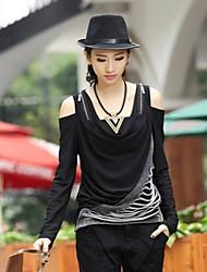 moda vazamento ombro t-shirt de manga longa das mulheres