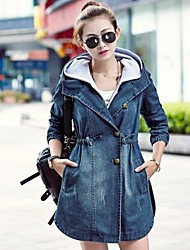 Women's Slim Hoodies Long Denim Coat
