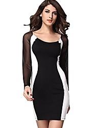 Joint Kontrastfarbe Kleid lange Ärmel