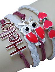 Nuevo Occidente Moda HOLA Owl Little Heart pulsera hecha a mano de la pulsera tejida