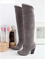 Women's Fall Winter Fashion Boots Faux Suede Dress Chunky Heel Black Blue Brown Gray