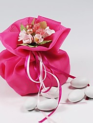10  PCS Double Layer Dark Pink Chiffon Wedding Favor Bags Drawstring Pouch with Handmade Flower for Luxury Party