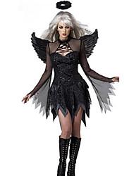 Costumes de Cosplay Costume de Soirée Ange et Diable Fête / Célébration Déguisement d'Halloween Noir Couleur Pleine Robe AilesHalloween