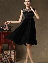 color sólido del vestido de las mujeres vestido de la falda de la gasa elegante retro cuello redondo vestido negro de encaje scollop