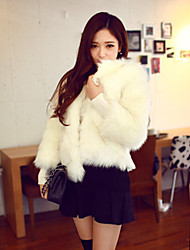 Long Sleeve Collarless Artifical Fox Fur Casual/Office/Party/Wedding Occasion Coat(Multi Colors)