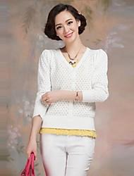 Frauen Baumwolle langärmelige Pullover stricken