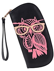 Women's Round Owl Clutch Checkbook Money Clip Change Bag Purse Handbag Wallet