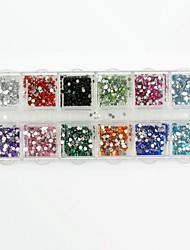 3600pcs ronde doos acryl steentjes valse diamant voor valse nagel tips nail art decoraties