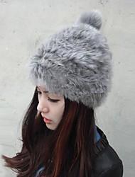 bola de cabelo pesado chapéu de pele de coelho falso das mulheres