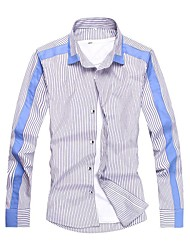 Men Personalized Korean Style Patchwork Stripe Slim Long-sleeved Shirt