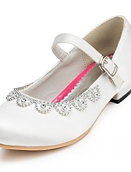 Girl's Flats Spring / Summer / Fall / Winter Comfort Satin Wedding Flat Heel Rhinestone Pink / Red / Ivory / White