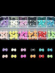 60pcs 12 couleurs mignon bowknot ongles en résine décoration d'art