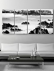 Stretched Canvas Art Black And White Style Landscape Painting Set of 4