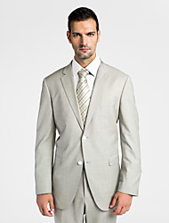 (Premium) Light Gray 100% Wool Tailored Fit Two-Piece uit