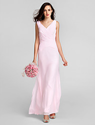 LAN TING BRIDE Floor-length Chiffon Mini Me Bridesmaid Dress - Sheath / Column V-neck Plus Size / Petite