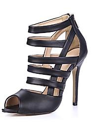 zapatos de las mujeres del dedo del pie orinó sandalias de tacón de aguja con zapatos de cremallera