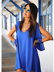 dress_x10 xiaonvren gasa v cuello (azul real)