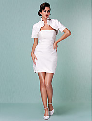 Lanting Bride Sheath/Column Petite / Plus Sizes Wedding Dress-Short/Mini Strapless Satin