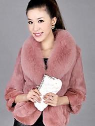 Women's Elegant Faux Fur Pure Color 3/4 Sleeve Short Coat