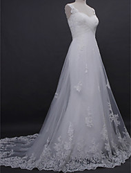 Lanting Bride® A-line Wedding Dress Court Train Straps Lace / Tulle with Appliques / Criss-Cross