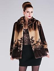 abrigo de imitación de piel de solapa de impresión de lujo de la moda de las mujeres