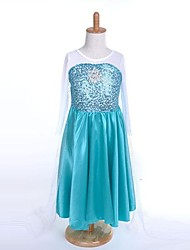 Cosplay Costumes Princess / Fairytale Movie Cosplay Blue Solid Dress Halloween / Christmas / New Year Kid Silk / Organza