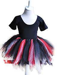 Kids' Dancewear Dresses Children's Cotton / Tulle Dress Length:2-3y:55cm,4-5y:58cm,6-7y:62cm,8-9y:67cm,10-11y:68cm