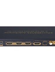 v1.4 3 port HDMI naar HDMI met audio afzuigkap EDID instelling boog 3x1 switcher splitter 4k 3D support SPDIF l / r audio