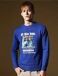 мужчин новый приходит хлопок O-образным вырезом случайные Приталенный Мода Стильный вязаный свитер