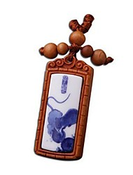 Duo Ji Mi ®Zodiac Rat Rosewood Key Chain Of Blue And White Porcelain