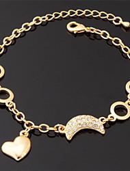 bracelets plaqué U7 charme coeur bracelet en or 18 carats de platine
