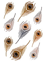 1Pcs Feathers Metallic Gold and Silver Tattoo Stickers Temporary Tattoos