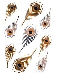 1pcs Penas de ouro metálico e prata etiquetas tatuagem tatuagens temporárias