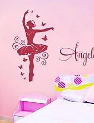 jiubai® dançarina personalizado sala da menina parede adesivos de parede decalque, por favor ofereça um nome