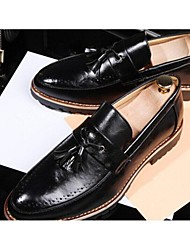 Men's Spring Fall Winter Comfort Leather Casual Flat Heel Lace-up Black Yellow