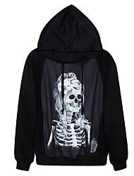 De pinkqueen® vrouwen katoenen het skelet dame afdruk zwarte hoody